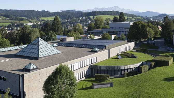 Aerial photograph with the main focus on the Library Building of the University of St.Gallen (HSG)